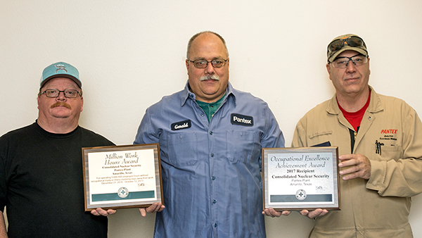 Congratulations to Pantex on this significant accomplishment; shown are Jackie Mercer (left), Gerald Johnston, and Donny Perry
